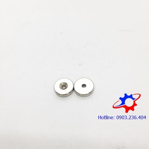 NNam châm tròn 15x5mm lỗ vát (8x4)mm mạ Nikel